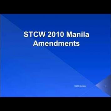 manila amendments to the stcw convention The stcw manila 2010 came into force on january 1, 2012  the mpr are  being amended to reflect stcw manila 2010 requirements.
